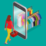 Online shopping and consumerism concept. Mobile grocery shopping e-commerce online store flat 3d web isometric Stock Photography