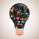 Online shopping creative light bulb Stock Images