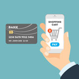 Online shopping with credit card. Royalty Free Stock Images