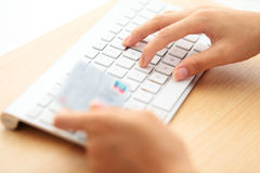 Online shopping with credit card and keyboard Stock Photos
