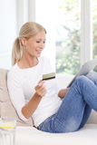 Online shopping with credit card Stock Photos