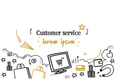 Online shopping customer service concept sketch doodle horizontal isolated copy space stock illustration