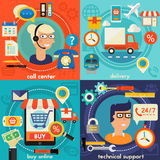 Online Shopping, Customer and Technical Support Call Center Concept Royalty Free Stock Photos