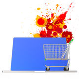 Online shopping 3d on splash colors background Royalty Free Stock Photos