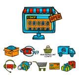 Online shopping decorative set Stock Images