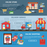 Online Shopping And Delivery Flat Banners Set Stock Photography