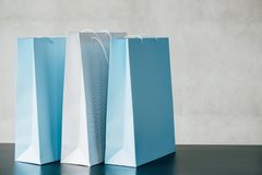 Online shopping delivery service bags advertising royalty free stock photos