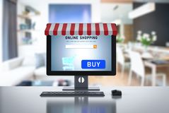 Online shopping on desktop computer Royalty Free Stock Photo