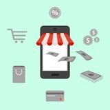 Online shopping, digital marketing, mobile illustration Stock Photo