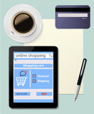 Online shopping with digital tablet ecommerce on d Royalty Free Stock Photography
