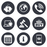 Online shopping, e-commerce and business icons Stock Photography