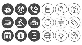 Online shopping, e-commerce and business icons. Stock Image