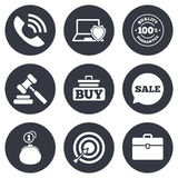 Online shopping, e-commerce and business icons Royalty Free Stock Images