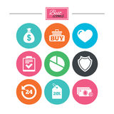 Online shopping, e-commerce and business icons. Royalty Free Stock Images