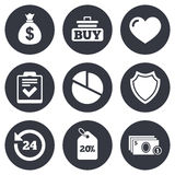 Online shopping, e-commerce and business icons Stock Images
