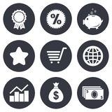 Online shopping, e-commerce and business icons Royalty Free Stock Image