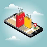 Online shopping and e-commerce concept. Online mobile shop store sale delivery shopping concept Royalty Free Stock Images