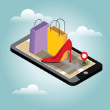 Online shopping and e-commerce concept. Shoes and high heels. Gifts. Online mobile shop store sale delivery shopping concept Stock Images