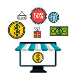 Online shopping e-commerce discount isolated Royalty Free Stock Photos