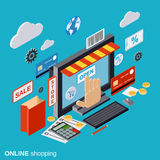 Online shopping, e-commerce, distant trade vector concept Stock Images