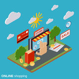 Online shopping, e-commerce, distant trade vector concept Stock Photography