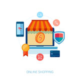 Online shopping and e-commerce flat icon. Set of flat design concept icons for online shopping. Icons for online shop, add to bag, browse goods, products in web Stock Photography