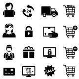 Online Shopping and E-commerce Icons Stock Photography