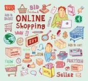 Online shopping e-commerce icons.  illustration Stock Photo