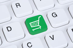 Online shopping e-commerce internet shop concept. With shopping cart stock photo