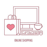Online shopping and e-commerce vector linear style illustration. Stock Image