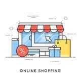 Online-shopping, e-kommers Plan linje konststilbegrepp vektor royaltyfri illustrationer