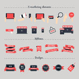 Online shopping, e-marketing, e-comerce, online shop development Royalty Free Stock Photos