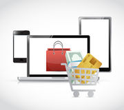 Online shopping. electronics. illustration design Royalty Free Stock Photography