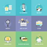 Online shopping elements flat icons Stock Photography