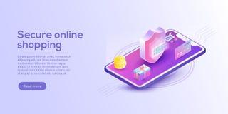 Online-shopping eller e-kommers isometrisk vektorillustration int royaltyfri illustrationer