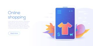 Online-shopping eller e-kommers plan vektorillustration Internet stock illustrationer