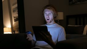 Online Shopping Failure at Night, Upset Redhead Man. 4k , high quality stock video footage