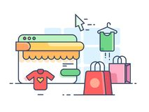 Online shopping flat. Buy things on web site. Vector illustration Royalty Free Stock Photography