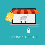 Online Shopping Flat Concept for Mobile Apps Stock Photography
