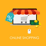 Online Shopping Flat Concept for Mobile Apps Stock Images