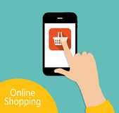Online Shopping Flat Concept Vector Illustration Royalty Free Stock Photos