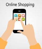 Online Shopping Flat Concept Vector Illustration Stock Photography