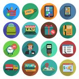 Online Shopping Flat Icon Set Stock Photos