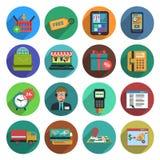 Online Shopping Flat Icon Set Stock Photos