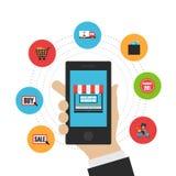 Online shopping flat icon Stock Image