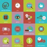 Online shopping flat icons. Stock Photo