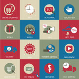 Online shopping flat icons. Royalty Free Stock Photography