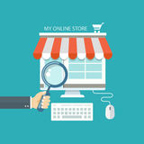 Online shopping flat illustration Royalty Free Stock Images