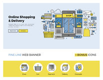 Online shopping flat line banner Royalty Free Stock Images