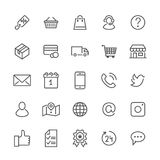 Online shopping flat line icons. E-commerce business, contacts, support, social networks, shop basket, sale, delivery. Illustrations. Thin signs for web store vector illustration